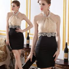 Luxurious saucy halter lace backless slim evening dresses NC...