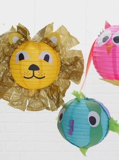 How cute are these little animal parade paper lanterns. These are a fun accessory for any child'€™s room. :)