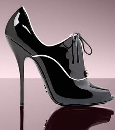 Gucci classy black with white piping patent peep out open toe High Heel Bootie $840 2008