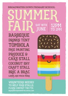 PTA Poster for Broadwater Down Primary School Summer Fair 2018 by Domonic Mahone. PTA Poster for Broadwater Down Primary School Summer Fair 2018 by Domonic Mahoney Fundraising Poster, Christmas Fair Ideas, Fete Ideas, Carnival Posters, School Fair, Summer Fair, Design Typography, School Posters, School Fundraisers
