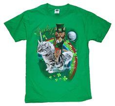 607e92fdd St. Patricks Day Kitty Cat on Kitty Unicorn Lucky Green Graphic T-Shirt -  Small