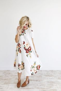 Melbourne floral dress in ivory roolee floral dresses, simple dresses, cute Simple Dresses, Cute Dresses, Cute Outfits, Floral Dresses, Summer Outfits, Easy Dress, Modest Fashion, Fashion Outfits, Mom Fashion