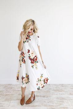 Melbourne Floral Dress in Ivory | ROOLEE