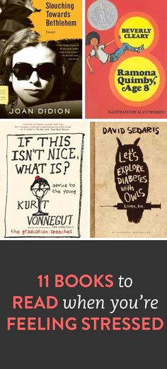 11 books to read when you're stressed. Want to read the Kurt Vonnegut graduation speeches one I Love Books, Good Books, Books To Read, My Books, Love Reading, Reading Lists, Book Lists, Book Suggestions, Book Recommendations