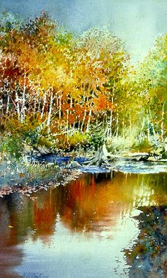 Autumn River by watercolor artist Nita Engle available from Snow Goose Gallery