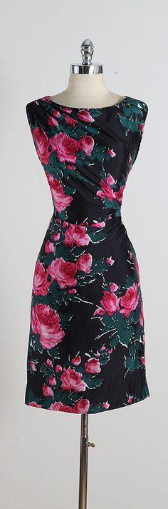 ➳ vintage 1950s dress * black silk * acetate lining * pink & green rose print * gathered side * metal back zipper condition | excellent fits
