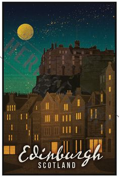 Vintage Poster Edinburgh Scotland Vintage Travel Poster by HeritageArtPrints - Classic Movie Poster Arrives rolled in a protective mailer tube Poster measures approx. City Poster, Poster S, Poster Prints, Art Print, Vintage Travel Posters, Vintage Postcards, Posters Decor, Photo Vintage, Vintage Style