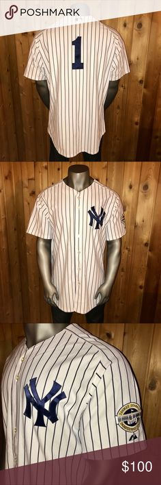 Official Majestic NY Yankees Billy Martin Jersey Very Rare, Authentic Jersey!!!  Size: U.S. Men's XXL Color: White/Navy Blue  Official Authentic Majestic MLB New York Yankees Baseball Jersey Former New York Yankees Player and Hall of Fame Retired Legendary Manager, Billy Martin #1 2009 Yankee Stadium Inaugural Season Patch On Left Sleeve  All numbers, patches and logos are embroidered onto the jersey Regular Fit  Excellent Condition! No rips, stains, tears, pulls, pills or fading  Jersey…
