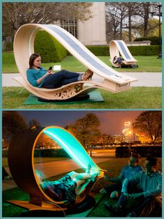 "Recharge yourself and your electronics with KVA's Solar-Powered ""SOFT Rockers"" Chairs!"