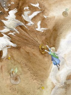 the Little Prince / Illustration. By Ya-Ong Nero. Kim Min Ji, 70th Anniversary, The Little Prince, Children's Book Illustration, Book Illustrations, Cute Art, Amazing Art, Fantasy Art, Book Art