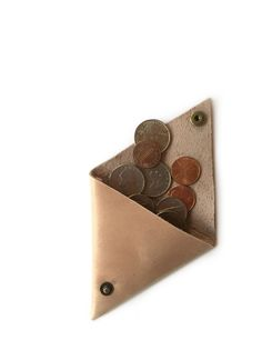 Leather Triangle Coin Pouch | FASHIONABLE