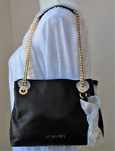 057a2bab91d3 Michael Kors Jet Set Chain Medium Leather Messenger Handbag Black Brand New