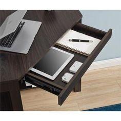 Ameriwood 28 in. Corner Espresso Finish 1 Drawer Writing Desk with Shelf - The Home Depot Desk Shelves, Low Shelves, Corner Writing Desk, Corner Desk, Small Office, Storage Drawers, Drafting Desk, Espresso, Office Supplies