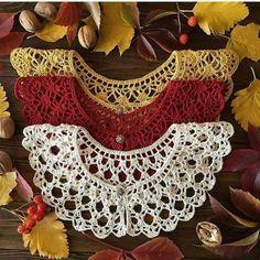 Crochet Collar Pattern, Crochet Lace Collar, Crochet Doily Diagram, Crochet Edging Patterns, Crochet Flower Tutorial, Crochet Patterns Amigurumi, Diy Crochet, Crochet Designs, Crochet Crafts