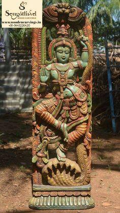 Multicoloured wooden kaliga krishna..!