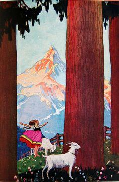"Edna Cooke Shoemaker  ""Heidi stood still and listened"" Illustration by Edna Cooke Shoemaker in Heidi by Johanna Spyri. Translated by Helen B. Dole. New York: Grosset & Dunlap, c1927. Gift in processing."