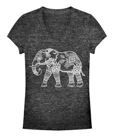 Love this Black Elephant Burnout V-Neck Tee - Women by Chin Up Apparel on #zulily! #zulilyfinds $16.99