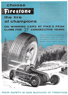 1957 Firestone Tire ad for the Pikes Peak Hill Climb race