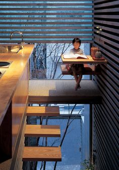 The House of Laminated Layers by Architect Hiroaki Ohtani is made up of pre-cast concrete strips, stacked unevenly to allow stairs, furniture and floors to be inserted in the gaps. Future House, My House, Interior Design Kitchen, Interior And Exterior, Stairways, My Dream Home, Interior Architecture, Japan Architecture, House Design