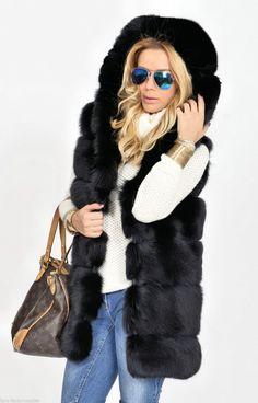 fox furs - saga black fox fur vest hood