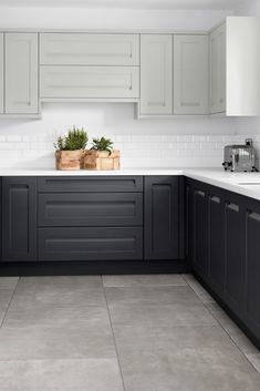A handle-less contemporary shaker style door painted in a smooth matt finish. Modern Shaker Kitchen, Modern Grey Kitchen, Grey Kitchen Designs, Kitchen Room Design, Kitchen Cabinet Design, Modern Kitchen Design, Home Decor Kitchen, Interior Design Kitchen, Home Kitchens