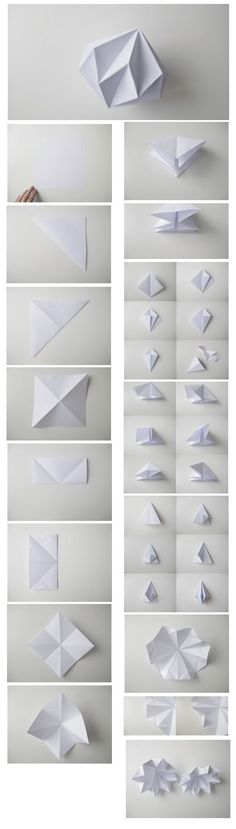 DIY PAPER DIAMONDS maybe for our white branches? who knows...: Pliage Origami, Diy アイデア, Diamond Origami, Paper Diamond, Origami Design, Origami Geometric Shapes, Origami Paper Art, Diy Paper Lanterns, Origami Lantern