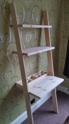 Lean to desk handmade wooden ladder desk by ColinsWoodShop on Etsy