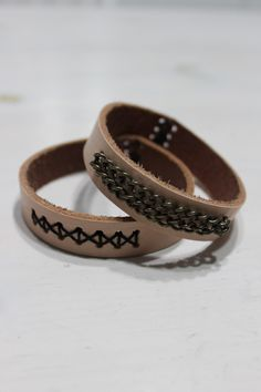 Diy leather bracelets from a belt.