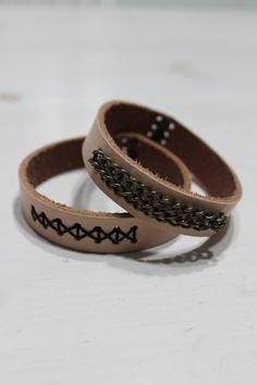Diy leather bracelets from a belt.
