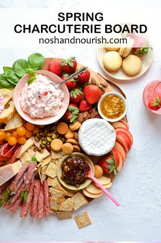 If you are wondering how to make a charcuterie board, look no further! This easy Spring Charcuterie Board is easy to put together, and it's full of tons of cheese, fruits and meats! Assemble everything on a wooden board, and you've got yourself a beautiful display! #easyspringappetizers #springcharcuterieboard #cheeseboardideas #noshandnourish