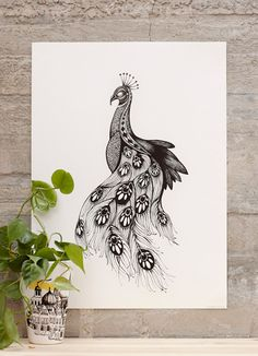 Illustration made with fineliner, reproduced and printed on 170 grams uncoated natural white paper. Measures 50x70cm