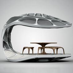 Zaha Hadid and Patrik Schumacher have created a temporary dining pavilion shaped like an open clam shell and made only from sheet material