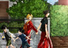 Kuroo x Kozume Kenma - Haikyuu cute KuroKen fanart of Kuroo and Kemna holding hands, on a walk. Nekoma High boys, Kenma and Kuroo walking past their Haikyuu Kageyama, Haikyuu Manga, Kagehina, Kuroo X Kenma, Manga Anime, Daisuga, Haikyuu Funny, Kuroken, Haikyuu Fanart