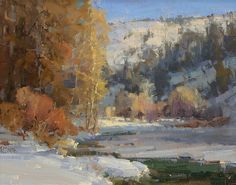 Provo Winter River - Oil by Kathryn Stats