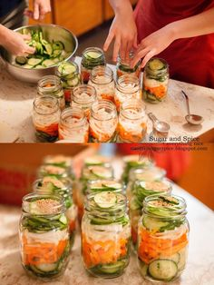 Mennonite Refrigerator Pickles (Makes enough for a 1 gallon jar or 8 pint jars)  Ingredients: 2-3 peppers 3 onions Cucumbers, enough to fill...