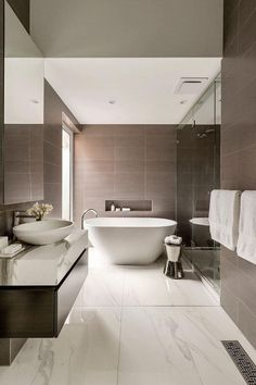 Contemporary bathrooms look clean cut and fresh, always with stylish details too, to pull the finishing look together. Modern contemporary bathrooms can. Modern Small Bathrooms, Contemporary Bathroom Designs, Contemporary Decor, Luxury Bathrooms, Bathroom Modern, Master Bathrooms, Bathrooms Online, Pink Bathrooms, Masculine Bathroom