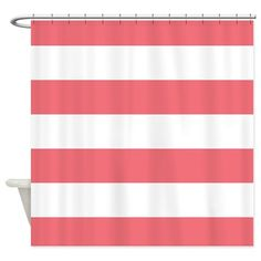 Coral And White Striped Shower Curtain on CafePress.com