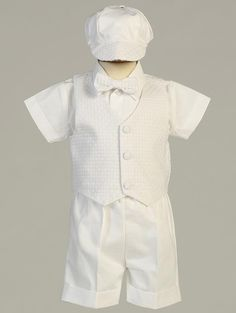 Available at Rosa's Shop 4352 Sepulveda Blvd Culver City Ca 90230 Poly cotton short set with basketweave vest and hat Made in USA Item #Dexter  Color White Size 0-3mos, 3-6mos, 6-12mos, 12-18mos, 18-24mos