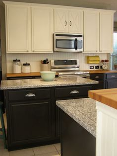 two tone cabinets and bead board. I wonder if I could do this in my kitchen?...