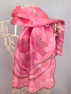 Deep Pink Poppy Sparkle Silk Scarf - Hand dyed shibori patterned tie dye, with painted flowers, pink cerise and orange red pattern with a unique wavy edge dusky pink sparkle  Free postage within the UK - anywhere else the cost is to cover the postage.    Long scarf - 138cm long and 40cm wide Approx.  medium weight twill woven silk, which has a warmer feel to it and more substance than a floaty fly away silk    Hand Dyed silk scarf using a shibori method of passing the dye through several…