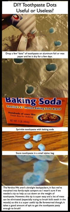 DIY Toothpaste Dots and other DIY camping ideas - for ultralight backpacking.