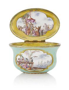 A Meissen gilt-mounted silver-sea-green ground-oval snuff box, circa 1730. Photo Bonhams