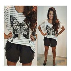● T-shirt Listras w/ Borboleta | Shoulder ♡ Disponível TAM. P / M   ● Shorts Tencel Gráfite | Shoulder ♡ Disponível TAM. 42 / 44 / 46   ● Colar Metal Prata Boho | Shoulder ♡    ••》Whatsapp 43 9148-2241  ☎  43 3254-5125.   Rua Rio Grande do Norte, 19 Centro - Cambé-Pr  #venhaseapaixonar #fashionistando #carolcamilamodas #news #Verão16 #musthave #lookcarolcamilamodas #style #workfashion #instafashion #shoulderfashion #provadorfashion #euqueroo #acessórios #lançamentocoleção