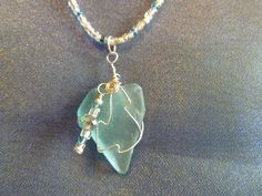 Wire Wrapped Aquamarine Sea Glass Charm with a by BEACHNBLING, $25.00