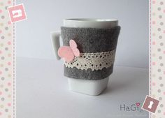 Felt Cup Cosy Butterfly Coffee Cup Sleeve                                                                                                                                                                                 More
