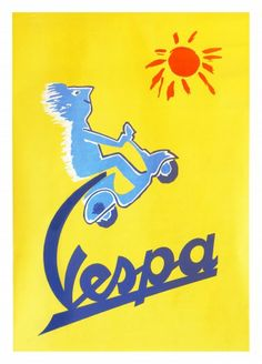 Vespa (artist: Savignac, Raymond) Italy c. 1955 - Vintage Advertisement SIGNED Print Master Giclee Print w/ Certificate of Authenticity - Wall Decor Travel Poster) -- You can get more details by clicking on the image. (This is an affiliate link) Retro Poster, Poster Ads, Poster Vintage, Poster Prints, Art Print, Advertising Poster, Giclee Print, Vintage Vespa, Pub Vintage