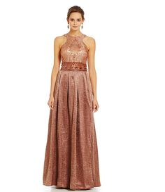 Mignon Bead-Embellished Jacquard Halter Gown