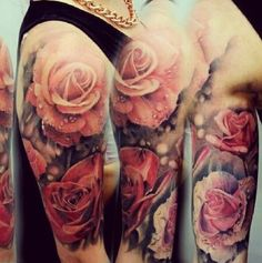 Rose tattoo rain pastel soft