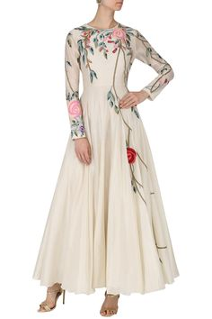 Samant Chauhan presents Off white floral embroidered gown available only at Pernia's Pop Up Shop. Anarkali Dress, Pakistani Dresses, Indian Dresses, Indian Outfits, White Anarkali, Indian Designer Outfits, Designer Dresses, Stylish Dresses, Fashion Dresses