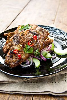 Indian Spiced Lamb Chops with Cucumber salad (Simple recipe included for cucumber salad)